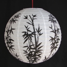 2 of Chinese White Paper Lanterns with Bamboo Pictures