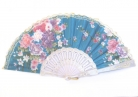 Silk Hand Fan with Golden Lace in Different Colors