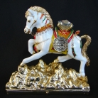Bejeweled White Windhorse Stepping on Mountain