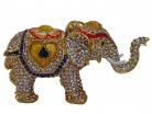 Bejeweled Elephant Statue with Trunk Up for Good Luck
