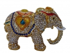 Bejeweled Elephant Statue with Trunk Down for Relationships