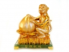 Golden Monkey Statue with Feng Shui Peach