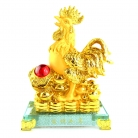 8 Inch Golden Rubber Finished Rooster Statue with Ru Yi