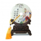 Genuine Jade Display Plate with Longevity Picture and Stand
