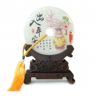 Genuine Jade Display Plate with Oriental Vase Picture and Stand