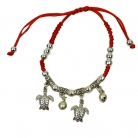 Red Bracelet with 2 Dangly Turtles