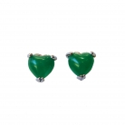 Heart Shape Jade Stud Earrings